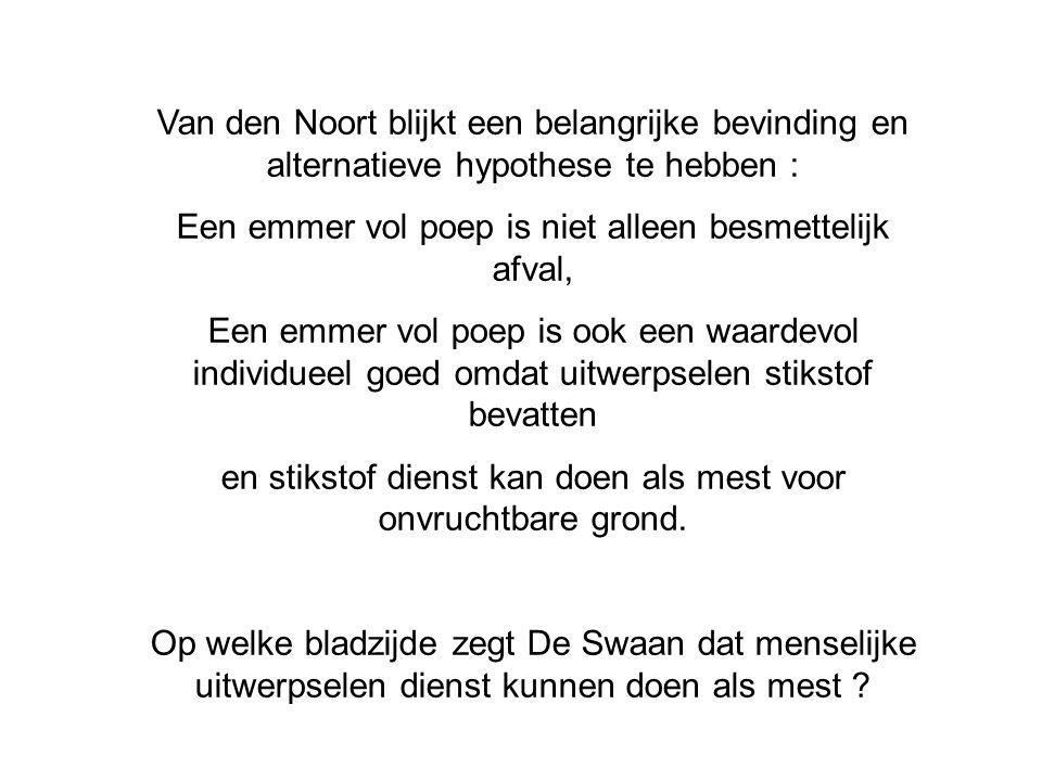 Van den Noort blijkt een belangrijke bevinding en alternatieve hypothese te hebben : Een emmer vol poep is niet alleen besmettelijk afval, Een emmer v
