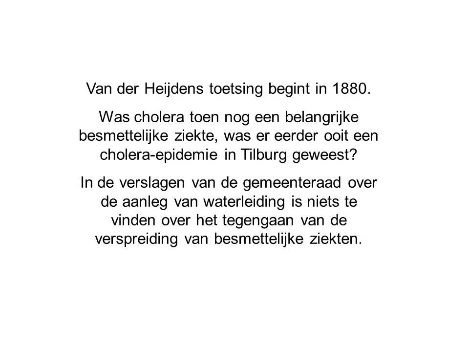 Van der Heijdens toetsing begint in 1880. Was cholera toen nog een belangrijke besmettelijke ziekte, was er eerder ooit een cholera-epidemie in Tilbur