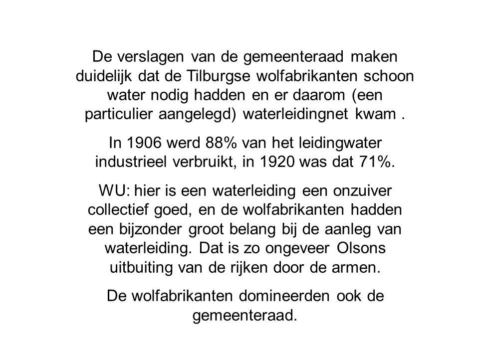 De verslagen van de gemeenteraad maken duidelijk dat de Tilburgse wolfabrikanten schoon water nodig hadden en er daarom (een particulier aangelegd) wa