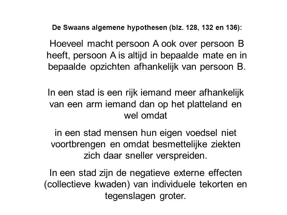 De Swaans algemene hypothesen (blz. 128, 132 en 136): Hoeveel macht persoon A ook over persoon B heeft, persoon A is altijd in bepaalde mate en in bep