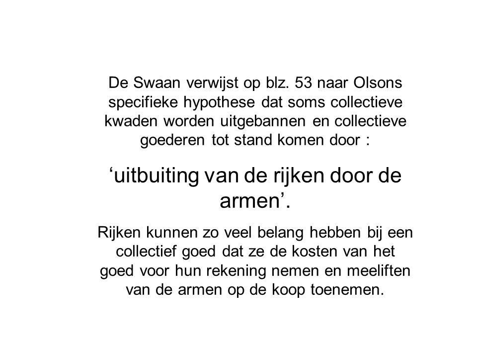 De Swaan verwijst op blz. 53 naar Olsons specifieke hypothese dat soms collectieve kwaden worden uitgebannen en collectieve goederen tot stand komen d