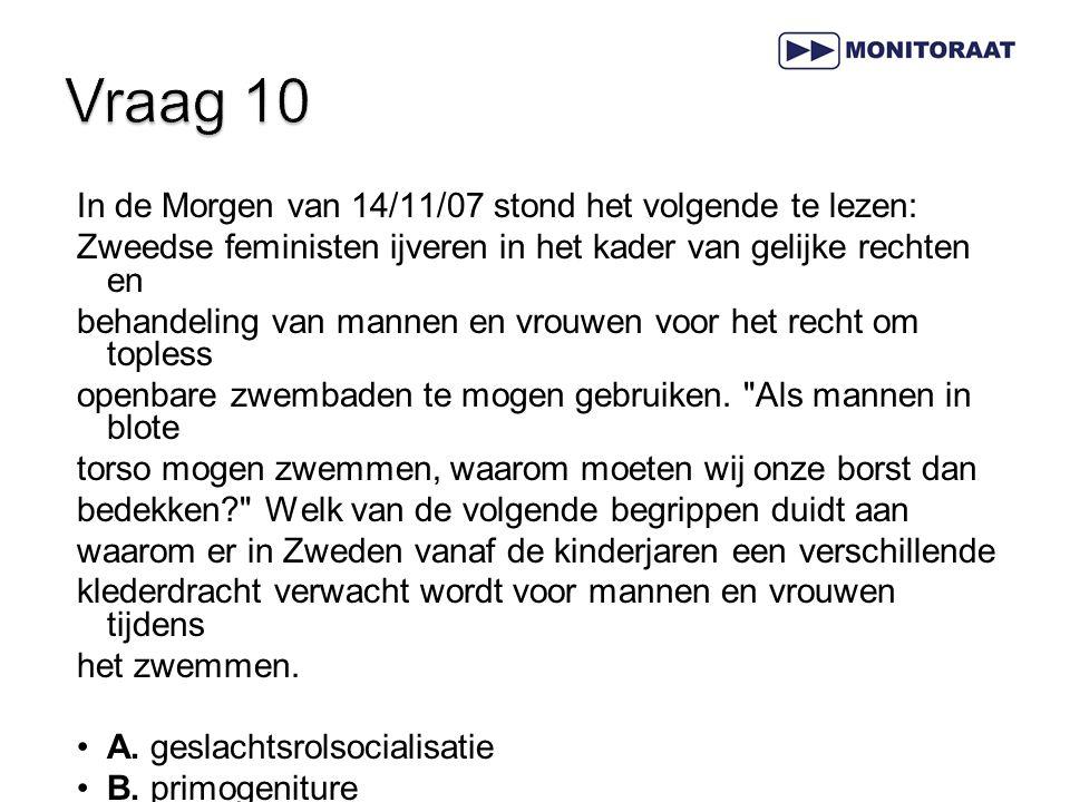 In de Morgen van 14/11/07 stond het volgende te lezen: Zweedse feministen ijveren in het kader van gelijke rechten en behandeling van mannen en vrouwe