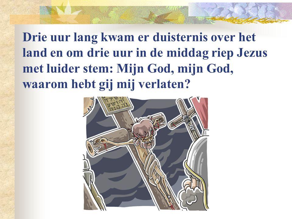 De zeven kruiswoorden: Ik heb dorst. Mijn God, mijn God, waarom hebt u mij verlaten? Vader vergeef het hen want ze weten niet wat ze doen. Dit is uw z