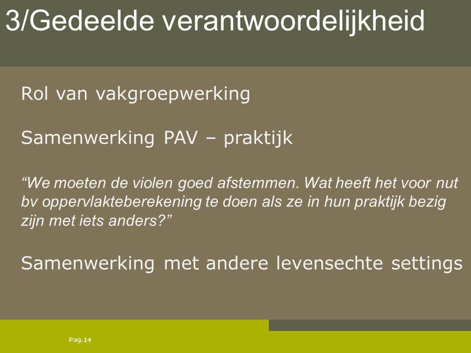 """Pag. Rol van vakgroepwerking Samenwerking PAV – praktijk """"We moeten de violen goed afstemmen. Wat heeft het voor nut bv oppervlakteberekening te doen"""