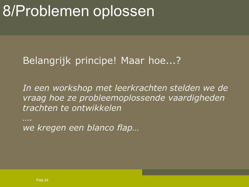 Pag. Belangrijk principe! Maar hoe...? 19 8/Problemen oplossen In een workshop met leerkrachten stelden we de vraag hoe ze probleemoplossende vaardigh
