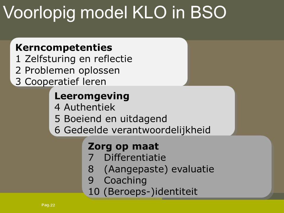 Pag. Voorlopig model KLO in BSO 22 Kerncompetenties 1 Zelfsturing en reflectie 2 Problemen oplossen 3 Cooperatief leren Kerncompetenties 1 Zelfsturing