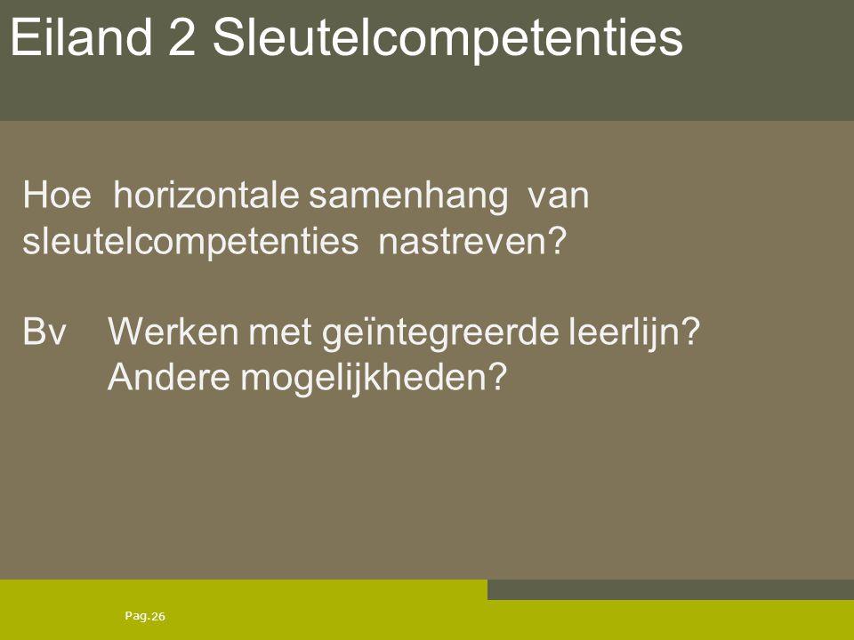 Pag. Hoe horizontale samenhang van sleutelcompetenties nastreven? Bv Werken met geïntegreerde leerlijn? Andere mogelijkheden? 26 Eiland 2 Sleutelcompe