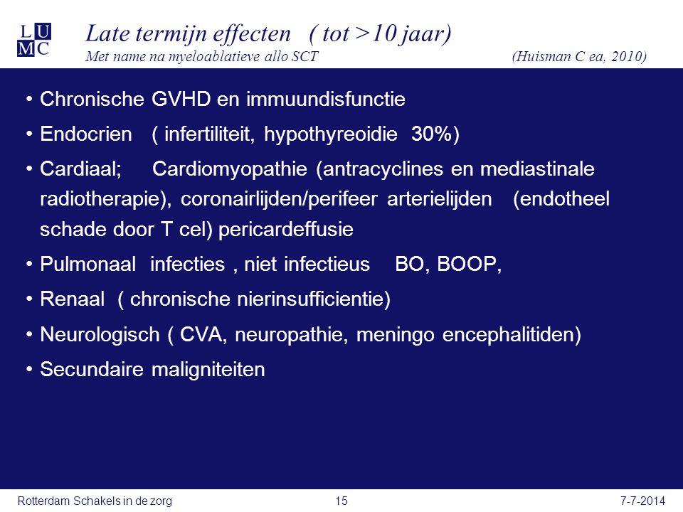 Late termijn effecten ( tot >10 jaar) Met name na myeloablatieve allo SCT (Huisman C ea, 2010) Chronische GVHD en immuundisfunctie Endocrien ( infertiliteit, hypothyreoidie 30%) Cardiaal; Cardiomyopathie (antracyclines en mediastinale radiotherapie), coronairlijden/perifeer arterielijden (endotheel schade door T cel) pericardeffusie Pulmonaal infecties, niet infectieus BO, BOOP, Renaal ( chronische nierinsufficientie) Neurologisch ( CVA, neuropathie, meningo encephalitiden) Secundaire maligniteiten 7-7-2014Rotterdam Schakels in de zorg15
