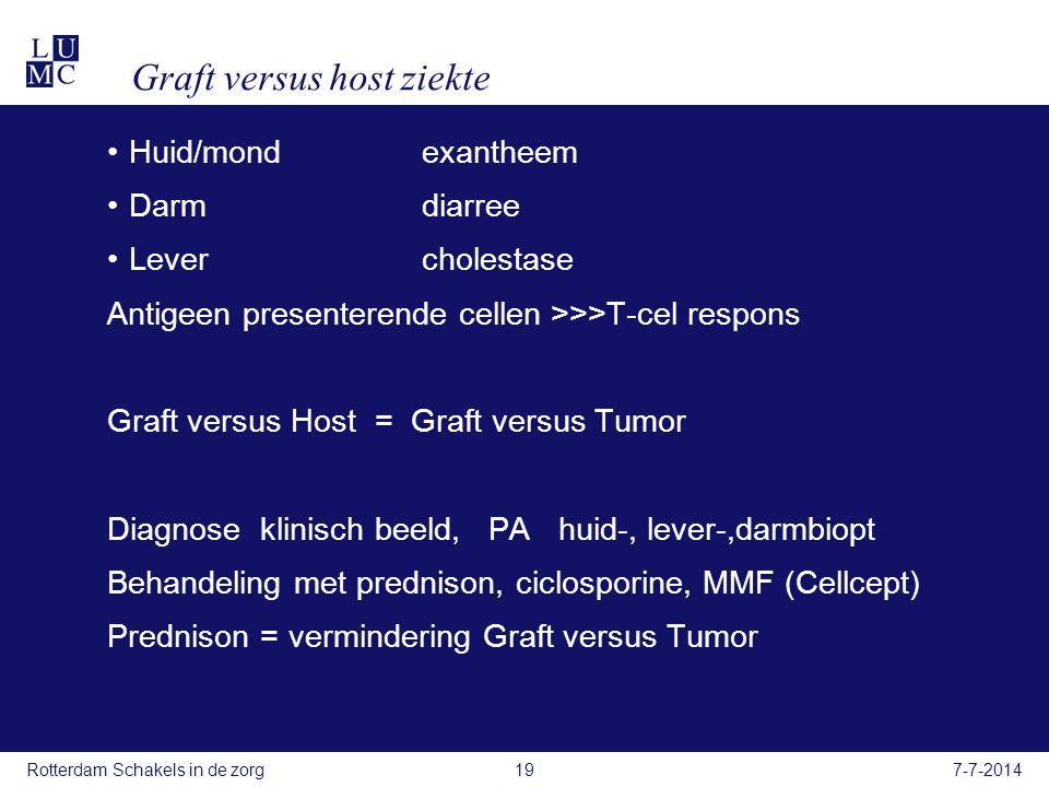 Graft versus host ziekte Huid/mond exantheem Darmdiarree Levercholestase Antigeen presenterende cellen >>>T-cel respons Graft versus Host = Graft versus Tumor Diagnose klinisch beeld, PA huid-, lever-,darmbiopt Behandeling met prednison, ciclosporine, MMF (Cellcept) Prednison = vermindering Graft versus Tumor 7-7-2014Rotterdam Schakels in de zorg19