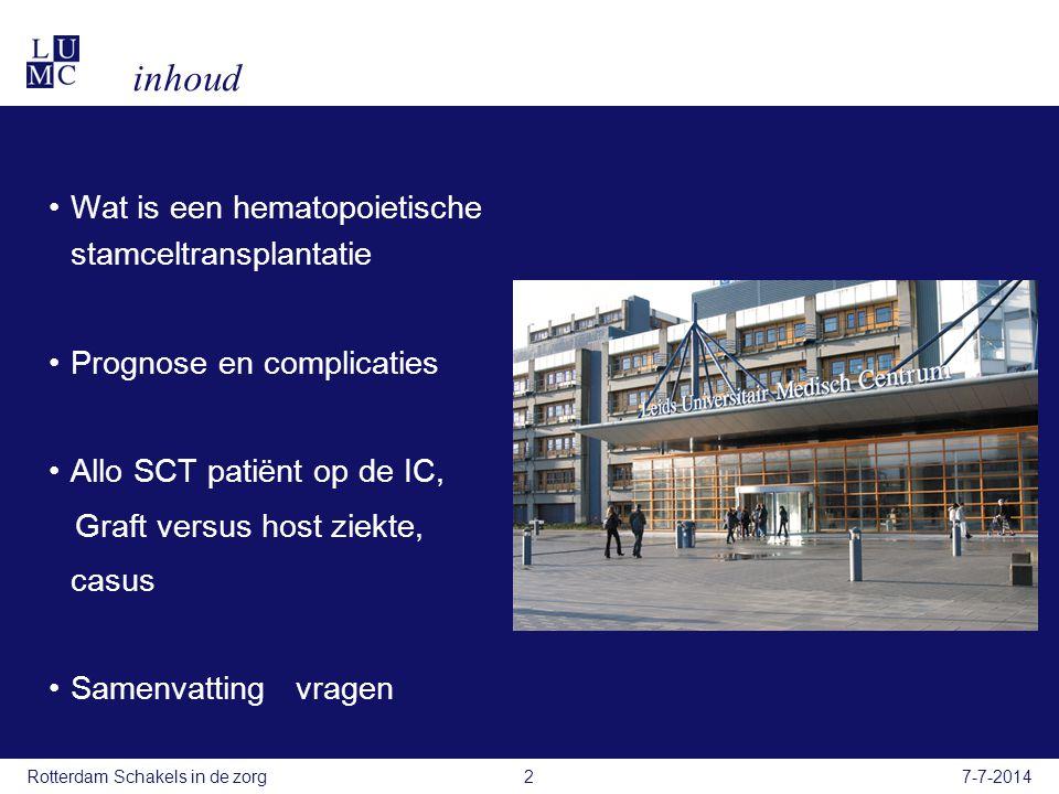 Casu ï stiek vrouw 54 jaar, diagnose Acute myeloide leukemie Voorgeschiedenis: 2011-3:Acute myeloide leukemia waarvoor 1e inductie chemotherapie met Idarubine en Cytarabine (HOVON 102 studie) Complicaties enterocolitis met sepsis bij diepe neutropenie 1e opname IC ivm sepsis 2011-5: Complete remissie 2011-5:Pulmonaire aspergillus infectie met hemoptoë  voriconazol.