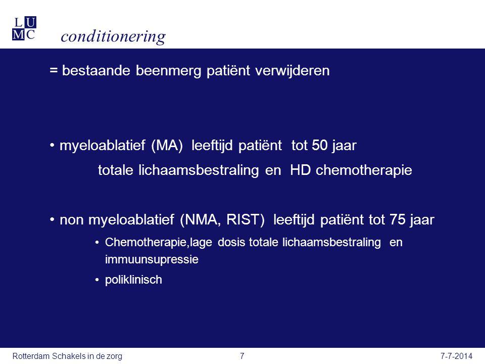 conditionering = bestaande beenmerg patiënt verwijderen myeloablatief (MA) leeftijd patiënt tot 50 jaar totale lichaamsbestraling en HD chemotherapie non myeloablatief (NMA, RIST) leeftijd patiënt tot 75 jaar Chemotherapie,lage dosis totale lichaamsbestraling en immuunsupressie poliklinisch 7-7-2014Rotterdam Schakels in de zorg7