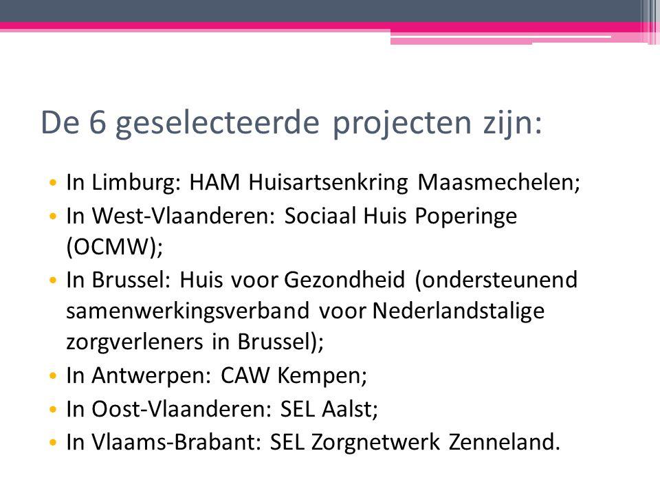De 6 geselecteerde projecten zijn: In Limburg: HAM Huisartsenkring Maasmechelen; In West-Vlaanderen: Sociaal Huis Poperinge (OCMW); In Brussel: Huis voor Gezondheid (ondersteunend samenwerkingsverband voor Nederlandstalige zorgverleners in Brussel); In Antwerpen: CAW Kempen; In Oost-Vlaanderen: SEL Aalst; In Vlaams-Brabant: SEL Zorgnetwerk Zenneland.