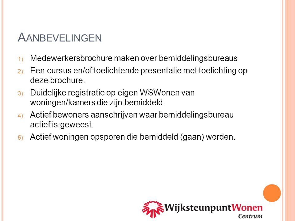 A ANBEVELINGEN 1) Medewerkersbrochure maken over bemiddelingsbureaus 2) Een cursus en/of toelichtende presentatie met toelichting op deze brochure. 3)