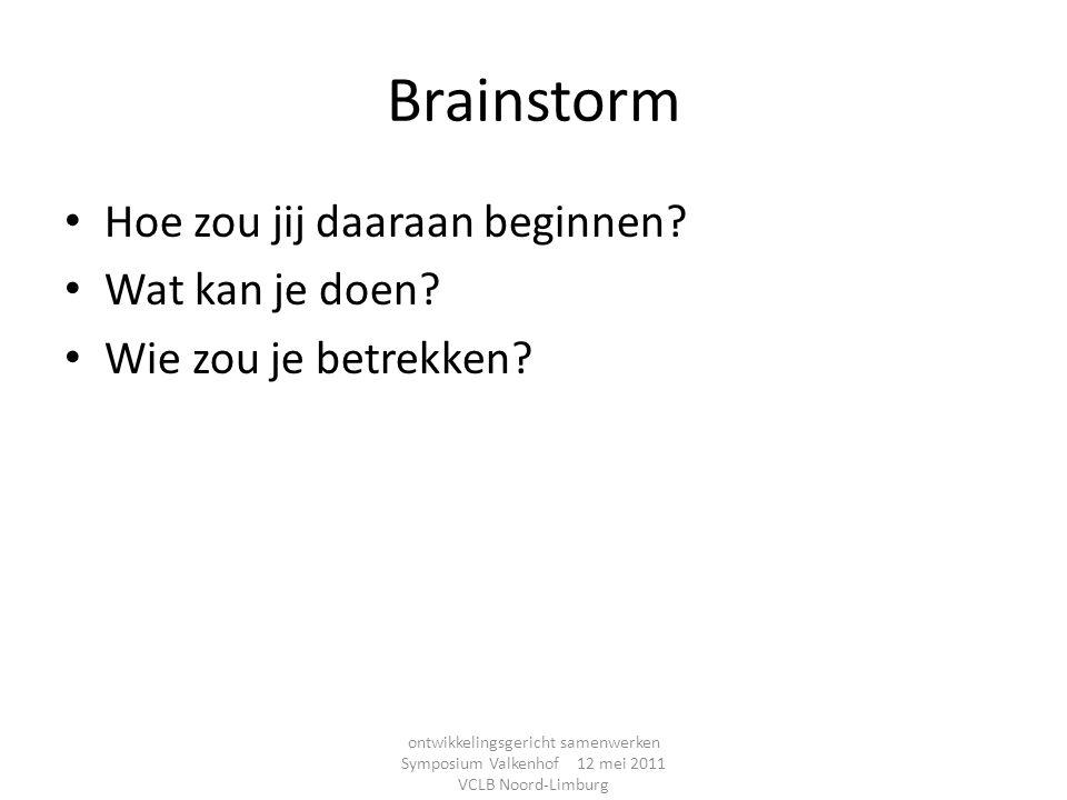 Brainstorm Hoe zou jij daaraan beginnen? Wat kan je doen? Wie zou je betrekken? ontwikkelingsgericht samenwerken Symposium Valkenhof 12 mei 2011 VCLB
