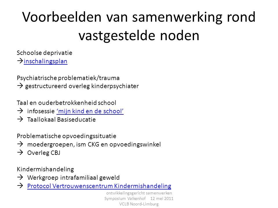 Voorbeelden van samenwerking rond vastgestelde noden Schoolse deprivatie  inschalingsplan inschalingsplan Psychiatrische problematiek/trauma  gestru