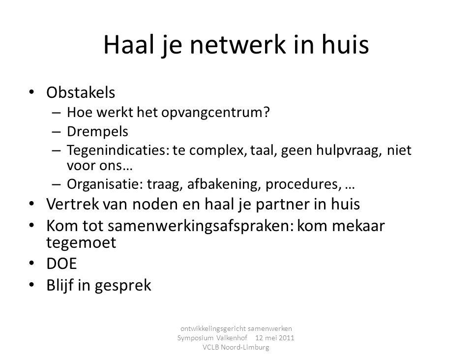 Haal je netwerk in huis Obstakels – Hoe werkt het opvangcentrum? – Drempels – Tegenindicaties: te complex, taal, geen hulpvraag, niet voor ons… – Orga