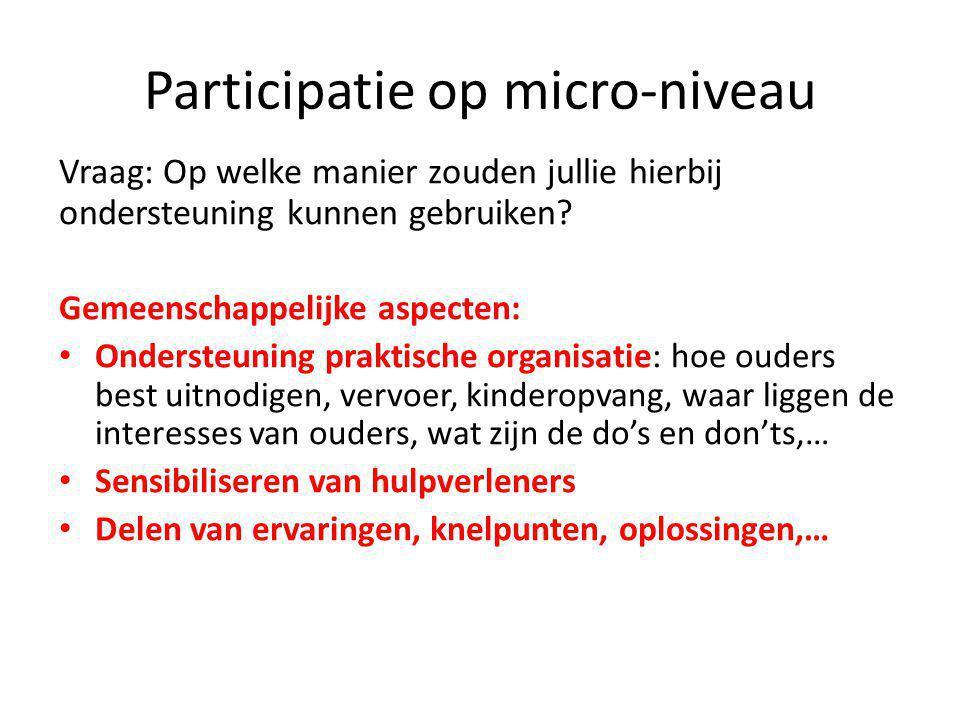 Participatie op micro-niveau Vraag: Op welke manier zouden jullie hierbij ondersteuning kunnen gebruiken.