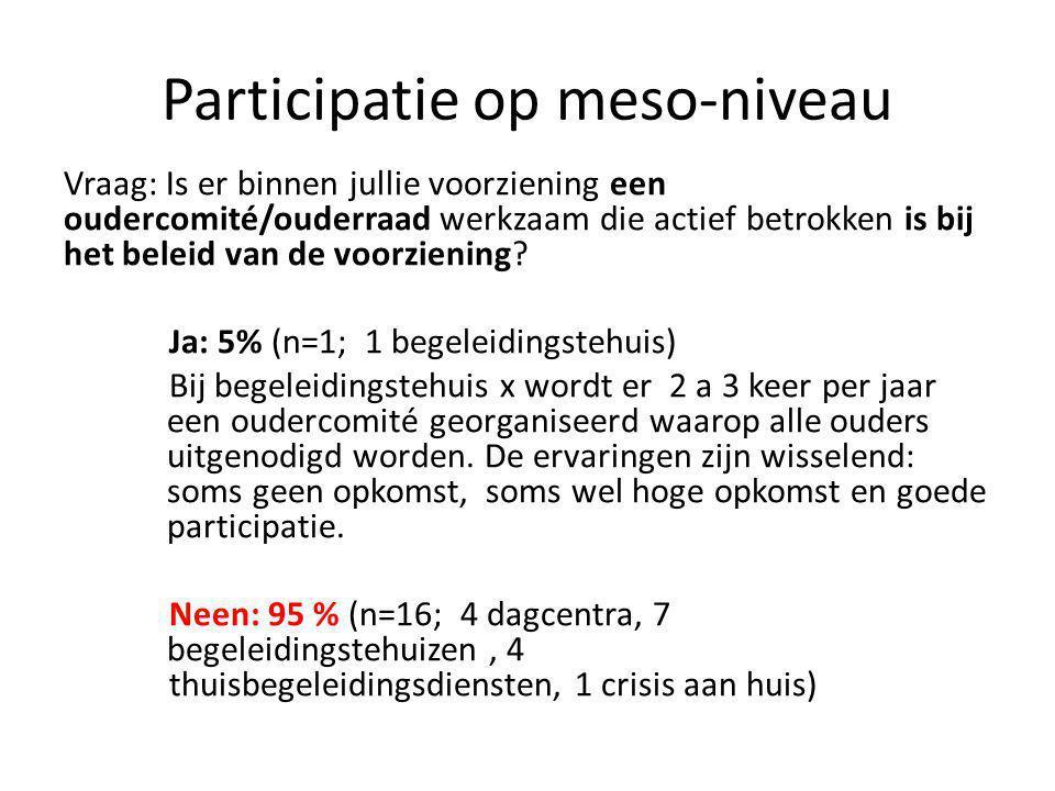Participatie op meso-niveau Vraag: Is er binnen jullie voorziening een oudercomité/ouderraad werkzaam die actief betrokken is bij het beleid van de voorziening.