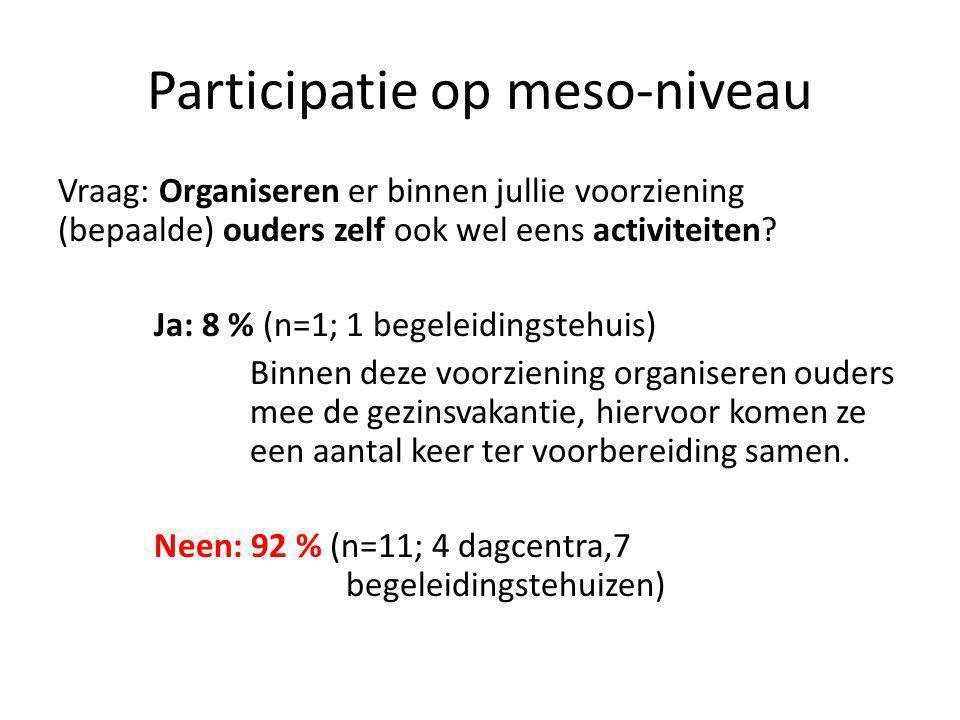 Participatie op meso-niveau Vraag: Organiseren er binnen jullie voorziening (bepaalde) ouders zelf ook wel eens activiteiten.