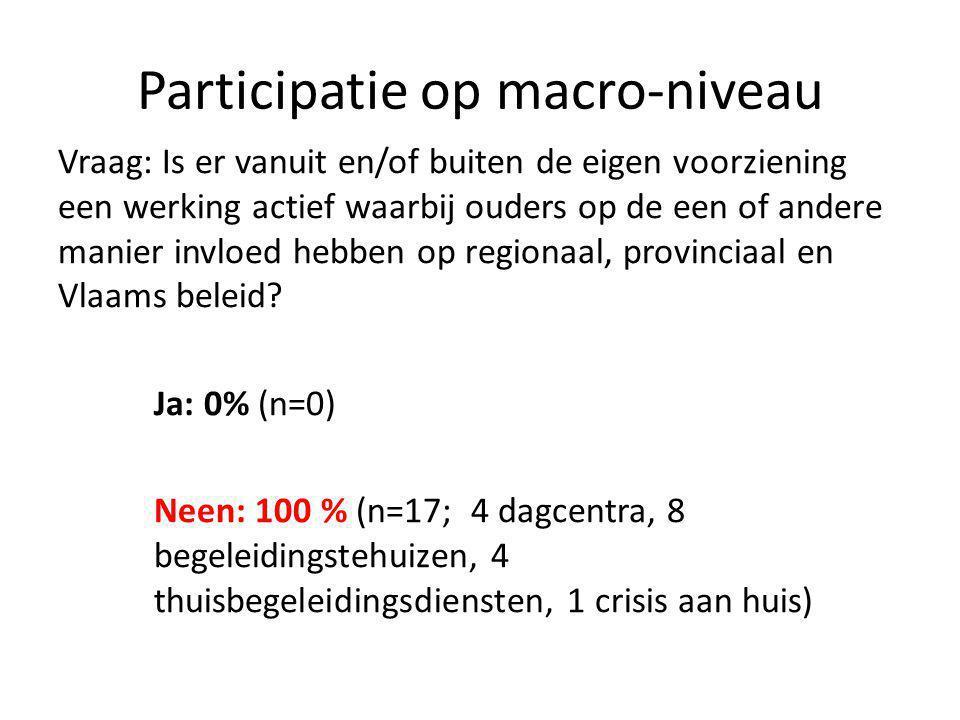 Participatie op macro-niveau Vraag: Is er vanuit en/of buiten de eigen voorziening een werking actief waarbij ouders op de een of andere manier invloed hebben op regionaal, provinciaal en Vlaams beleid.