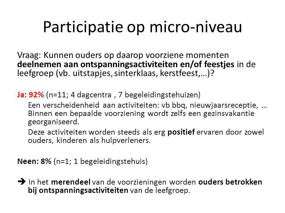 Participatie op micro-niveau Vraag: Kunnen ouders op daarop voorziene momenten deelnemen aan ontspanningsactiviteiten en/of feestjes in de leefgroep (vb.