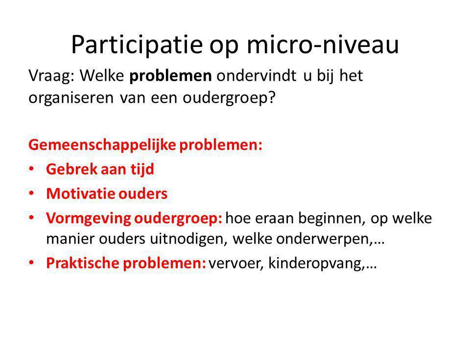 Participatie op micro-niveau Vraag: Welke problemen ondervindt u bij het organiseren van een oudergroep.