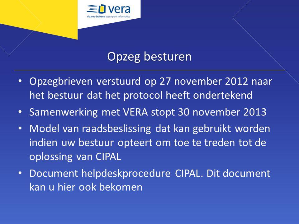 Opzeg besturen Opzegbrieven verstuurd op 27 november 2012 naar het bestuur dat het protocol heeft ondertekend Samenwerking met VERA stopt 30 november 2013 Model van raadsbeslissing dat kan gebruikt worden indien uw bestuur opteert om toe te treden tot de oplossing van CIPAL Document helpdeskprocedure CIPAL.