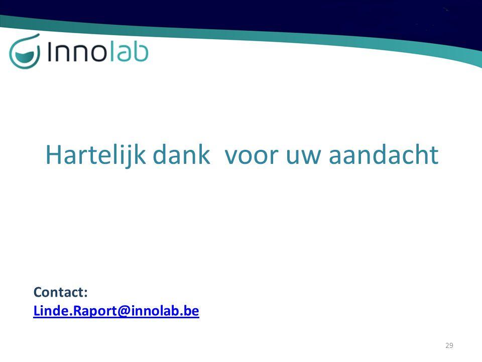 Hartelijk dank voor uw aandacht Contact: Linde.Raport@innolab.be 29