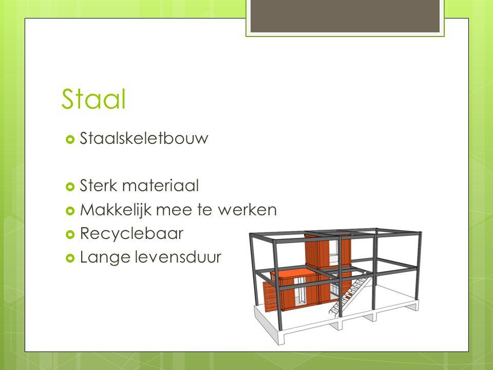Staal  Staalskeletbouw  Sterk materiaal  Makkelijk mee te werken  Recyclebaar  Lange levensduur