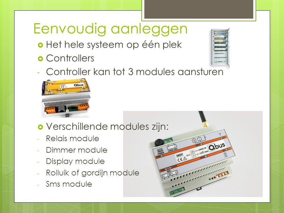 Eenvoudig aanleggen  Het hele systeem op één plek  Controllers - Controller kan tot 3 modules aansturen  Verschillende modules zijn: - Relais module - Dimmer module - Display module - Rolluik of gordijn module - Sms module