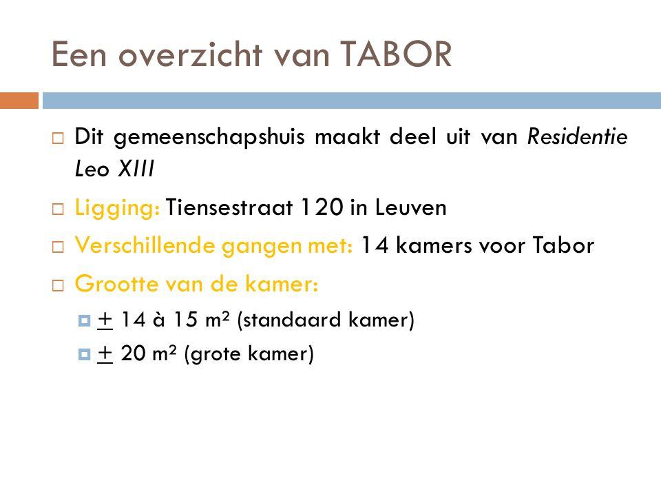 Een overzicht van TABOR  Dit gemeenschapshuis maakt deel uit van Residentie Leo XIII  Ligging: Tiensestraat 120 in Leuven  Verschillende gangen met: 14 kamers voor Tabor  Grootte van de kamer:  + 14 à 15 m² (standaard kamer)  + 20 m² (grote kamer)