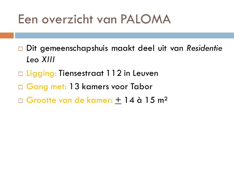 Een overzicht van PALOMA  Dit gemeenschapshuis maakt deel uit van Residentie Leo XIII  Ligging: Tiensestraat 112 in Leuven  Gang met: 13 kamers voor Tabor  Grootte van de kamer: + 14 à 15 m²
