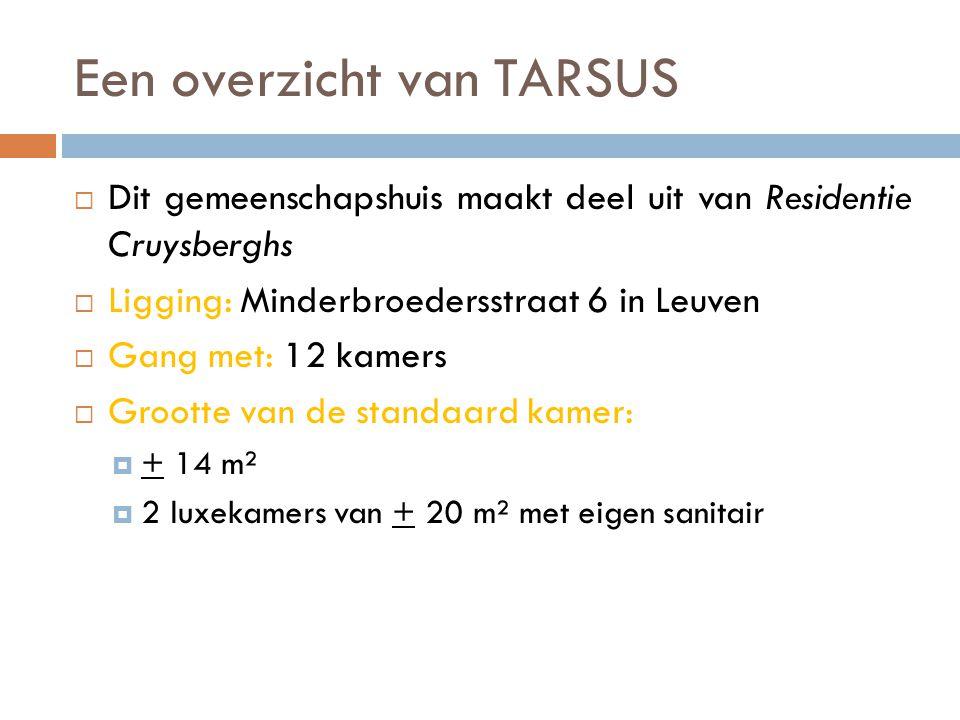 Een overzicht van TARSUS  Dit gemeenschapshuis maakt deel uit van Residentie Cruysberghs  Ligging: Minderbroedersstraat 6 in Leuven  Gang met: 12 kamers  Grootte van de standaard kamer:  + 14 m²  2 luxekamers van + 20 m² met eigen sanitair