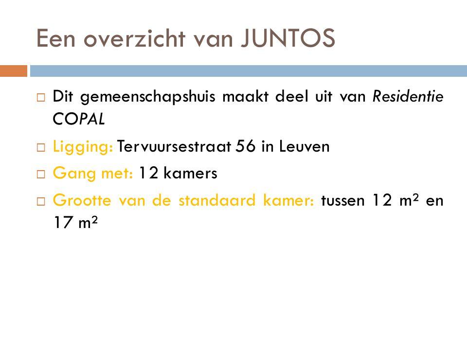 Een overzicht van JUNTOS  Dit gemeenschapshuis maakt deel uit van Residentie COPAL  Ligging: Tervuursestraat 56 in Leuven  Gang met: 12 kamers  Grootte van de standaard kamer: tussen 12 m² en 17 m²