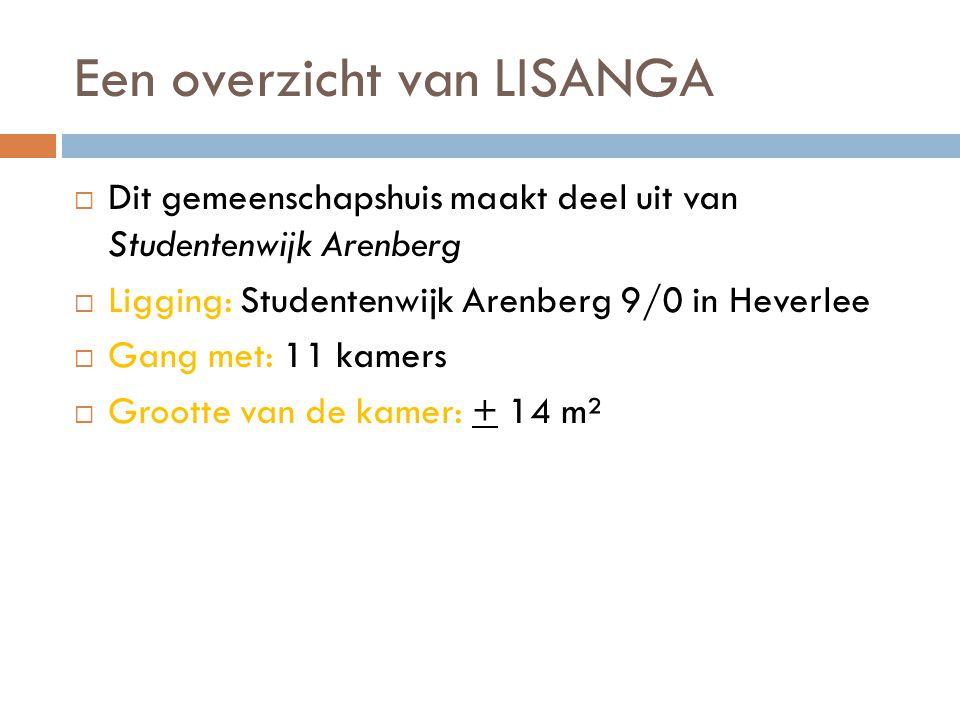 Een overzicht van LISANGA  Dit gemeenschapshuis maakt deel uit van Studentenwijk Arenberg  Ligging: Studentenwijk Arenberg 9/0 in Heverlee  Gang met: 11 kamers  Grootte van de kamer: + 14 m²