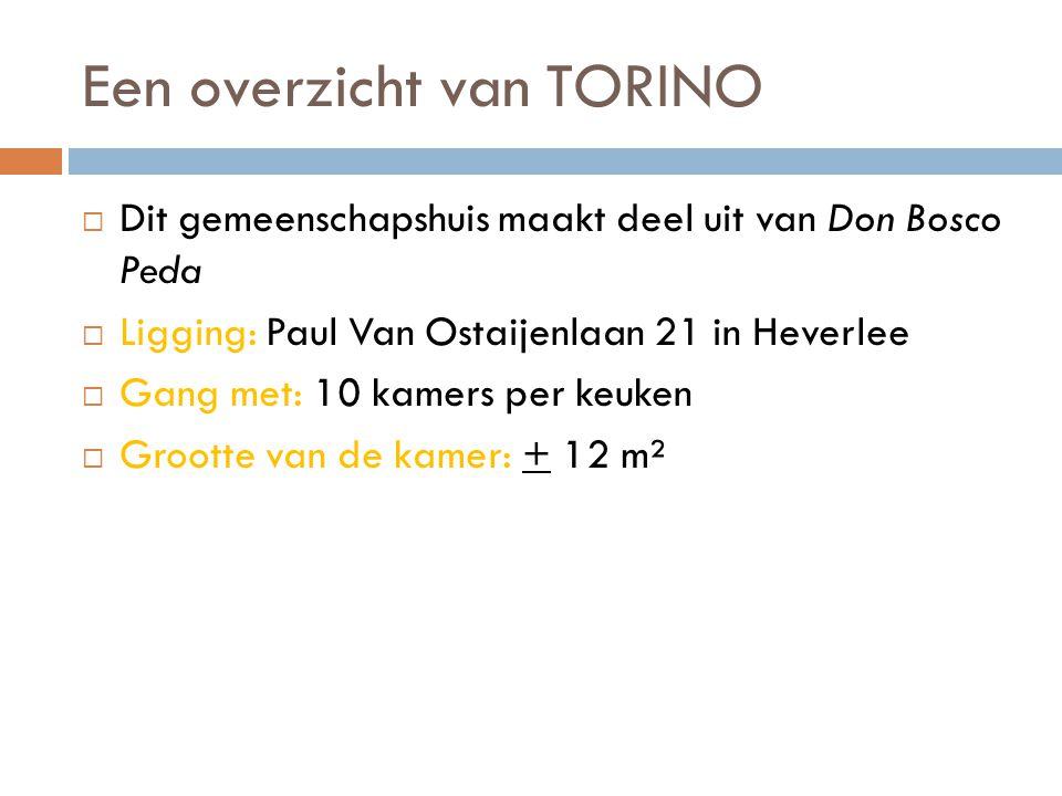 Een overzicht van TORINO  Dit gemeenschapshuis maakt deel uit van Don Bosco Peda  Ligging: Paul Van Ostaijenlaan 21 in Heverlee  Gang met: 10 kamers per keuken  Grootte van de kamer: + 12 m²
