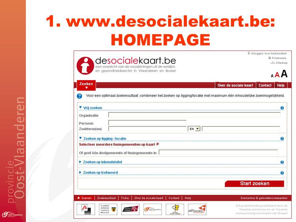 1. www.desocialekaart.be: HOMEPAGE