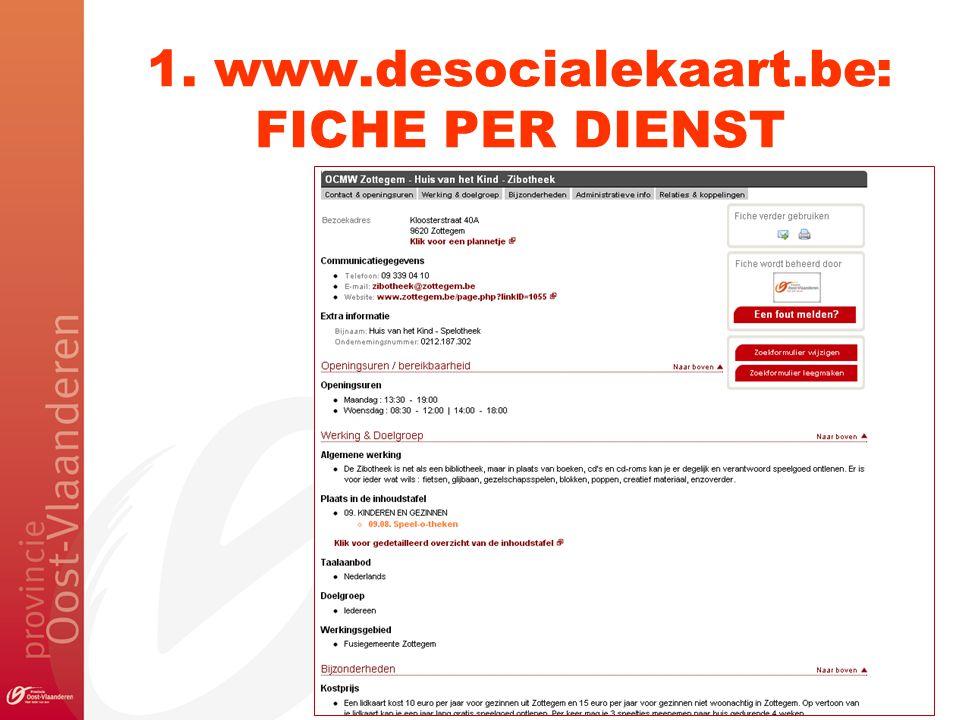1. www.desocialekaart.be: FICHE PER DIENST