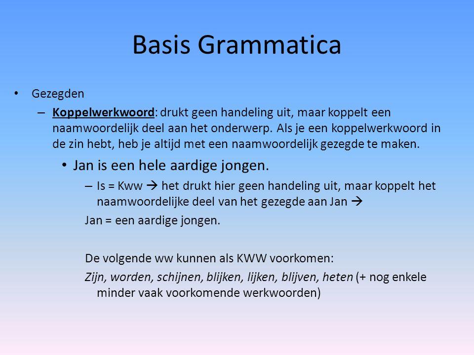 Basis Grammatica Gezegden – Koppelwerkwoord: drukt geen handeling uit, maar koppelt een naamwoordelijk deel aan het onderwerp. Als je een koppelwerkwo