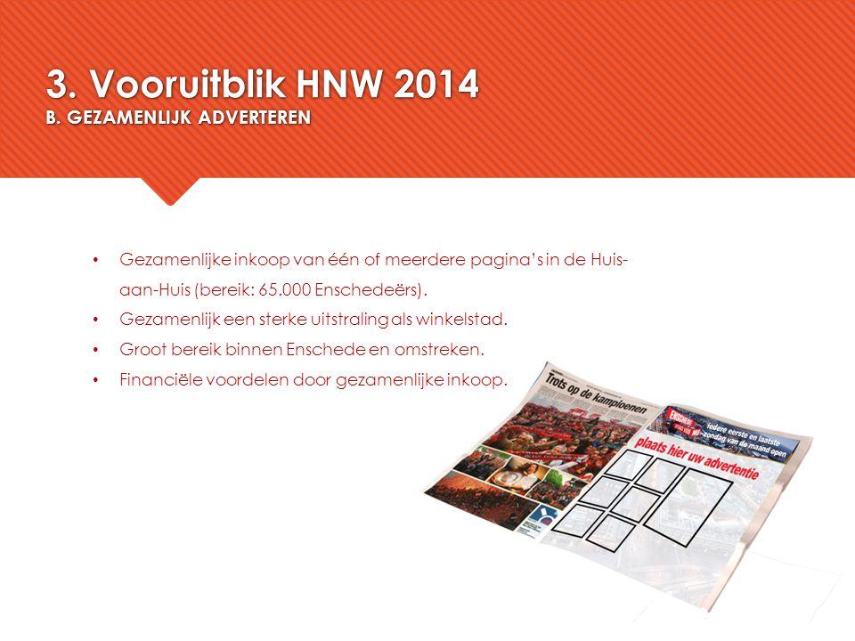 3. Vooruitblik HNW 2014 B. GEZAMENLIJK ADVERTEREN Gezamenlijke inkoop van één of meerdere pagina's in de Huis- aan-Huis (bereik: 65.000 Enschedeërs).