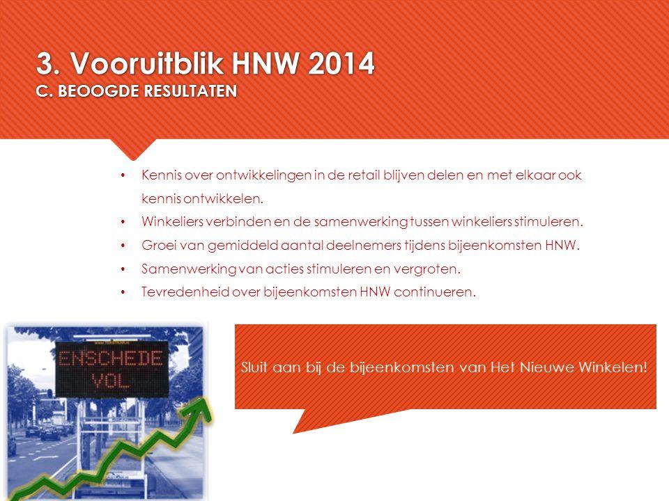 3. Vooruitblik HNW 2014 C. BEOOGDE RESULTATEN Sluit aan bij de bijeenkomsten van Het Nieuwe Winkelen! Kennis over ontwikkelingen in de retail blijven