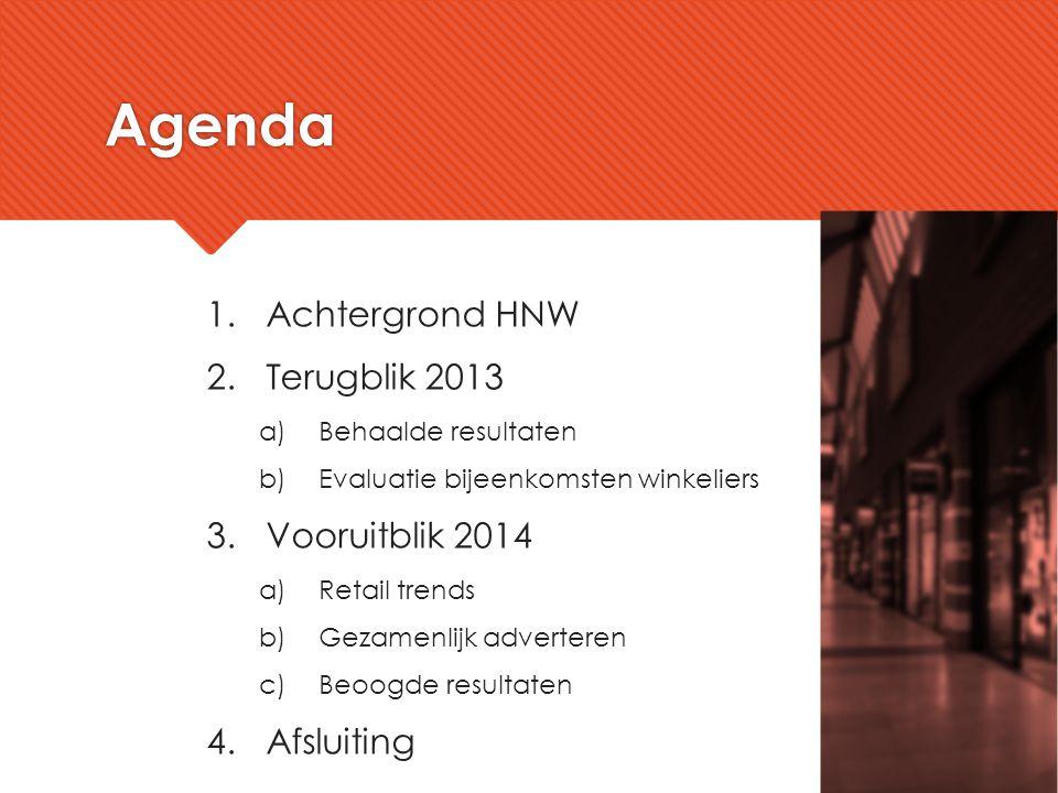1.Achtergrond HNW 2.Terugblik 2013 a)Behaalde resultaten b)Evaluatie bijeenkomsten winkeliers 3.Vooruitblik 2014 a)Retail trends b)Gezamenlijk adverte