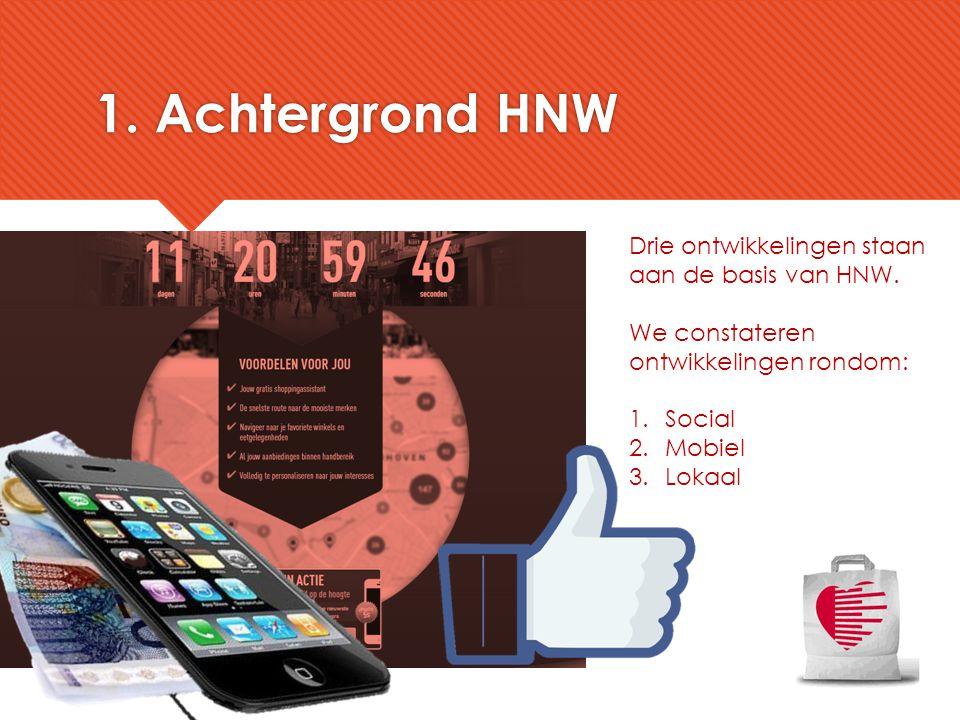 1. Achtergrond HNW Drie ontwikkelingen staan aan de basis van HNW. We constateren ontwikkelingen rondom: 1.Social 2.Mobiel 3.Lokaal