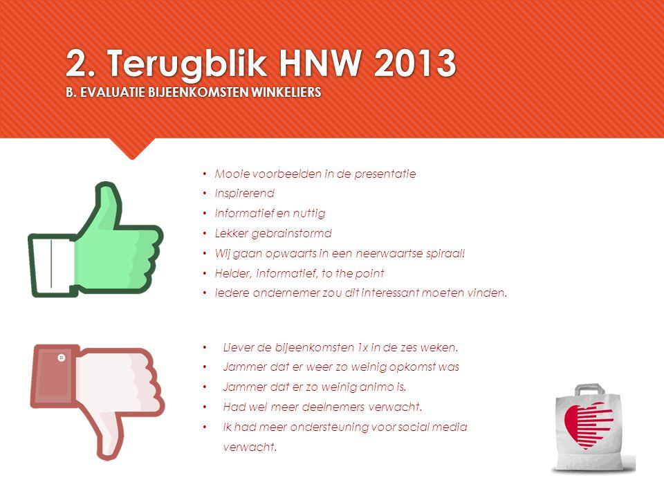 2. Terugblik HNW 2013 B. EVALUATIE BIJEENKOMSTEN WINKELIERS Mooie voorbeelden in de presentatie Inspirerend Informatief en nuttig Lekker gebrainstormd