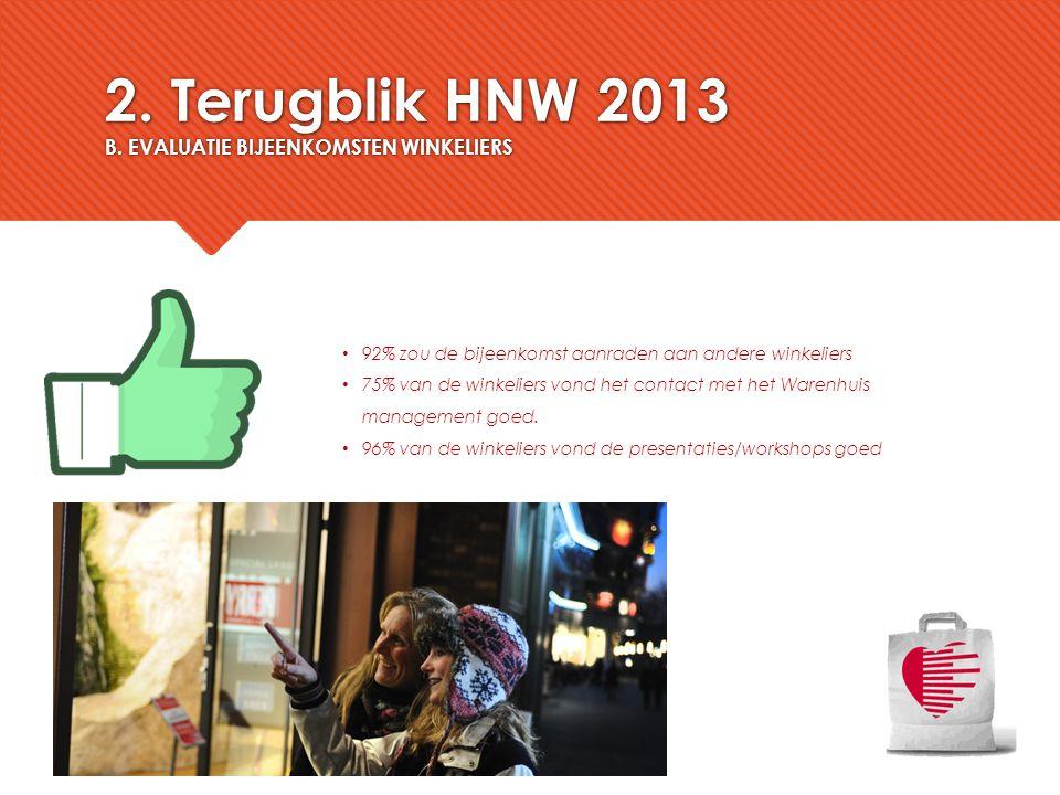 2. Terugblik HNW 2013 B. EVALUATIE BIJEENKOMSTEN WINKELIERS 92% zou de bijeenkomst aanraden aan andere winkeliers 75% van de winkeliers vond het conta