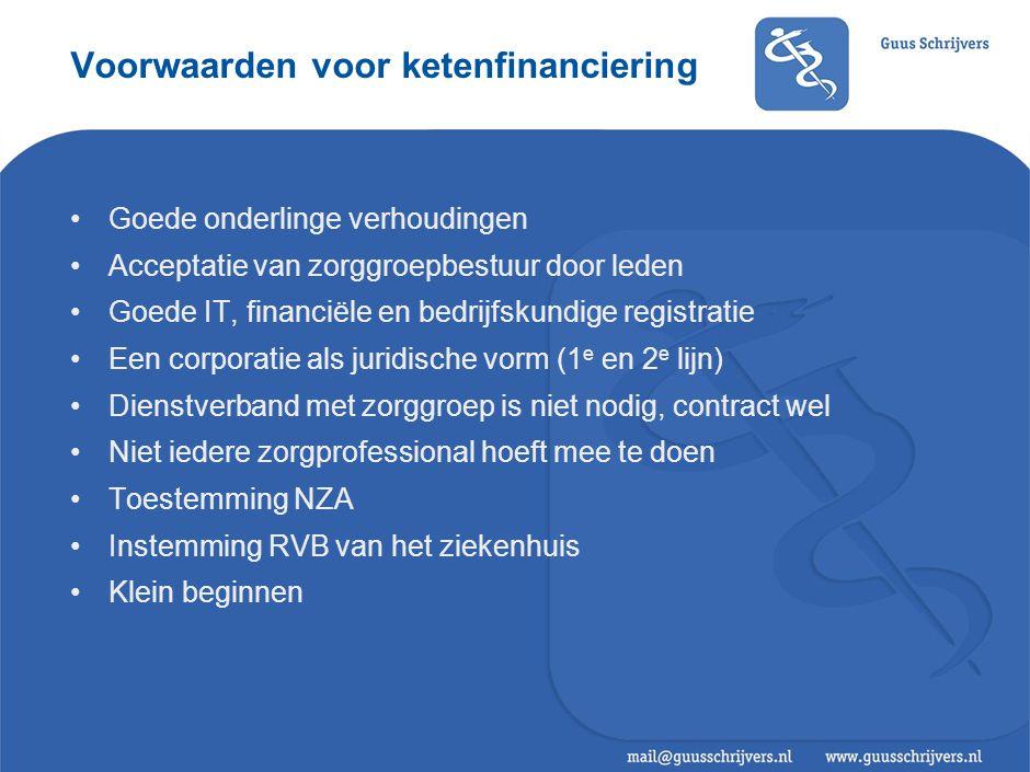 Voorwaarden voor ketenfinanciering Goede onderlinge verhoudingen Acceptatie van zorggroepbestuur door leden Goede IT, financiële en bedrijfskundige re