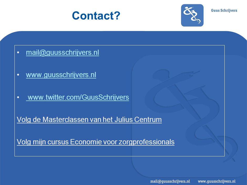Contact? mail@guusschrijvers.nl www.guusschrijvers.nl www.twitter.com/GuusSchrijvers Volg de Masterclassen van het Julius Centrum Volg mijn cursus Eco