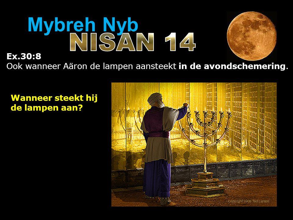 Ex.30:8 Ook wanneer Aäron de lampen aansteekt in de avondschemering. Wanneer steekt hij de lampen aan? Mybreh Nyb