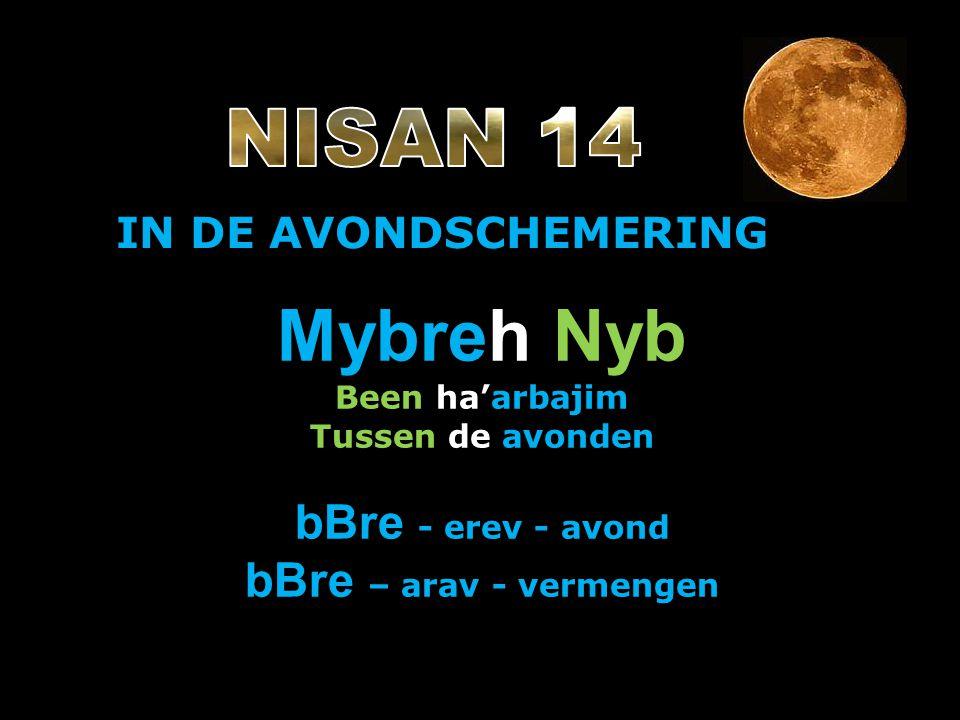 IN DE AVONDSCHEMERING Mybreh Nyb Been ha'arbajim Tussen de avonden bBre - erev - avond bBre – arav - vermengen