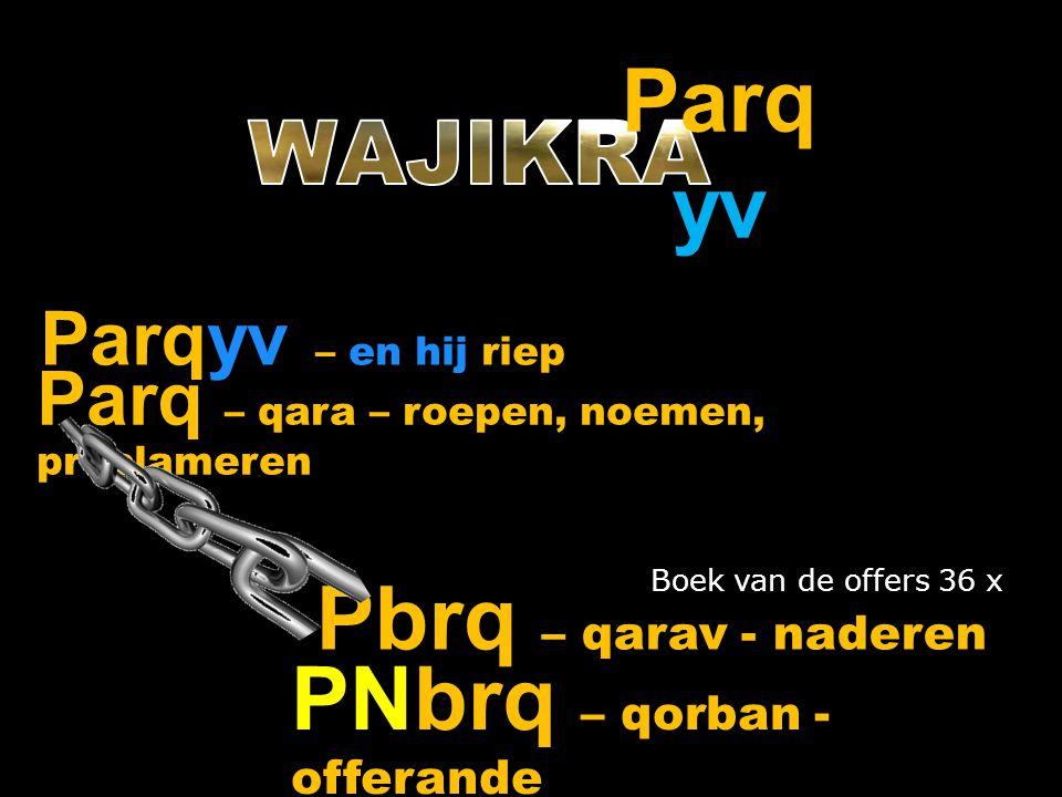 Parqyv – en hij riep Parq yv Parq – qara – roepen, noemen, proclameren Pbrq – qarav - naderen PNbrq – qorban - offerande Boek van de offers 36 x